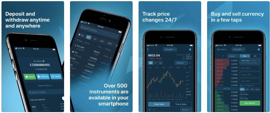 HitBTCのスマホアプリ